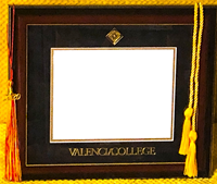 Valencia College Diploma Frame W/ Mahogany/Gold Frame Black/Gold Mat Gold Emboss Seal/School Name