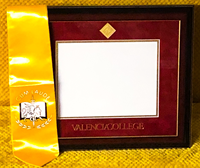 Valencia College Diploma Frame W/ Mahogany/Gold Frame Red/Gold Mat Gold Medallion Seal/School Name