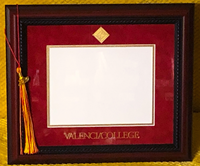 Valencia College Diploma Frame W/ Walnut Rope Frame Red/Gold Mat/Gold Medallion Seal